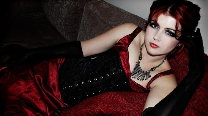 Gothic, redhead, blue eyes, girl