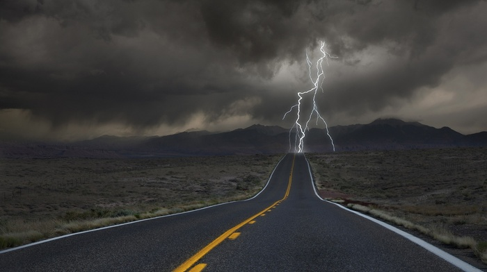 clouds, lightning, desert, road, hill, valley