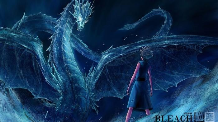 anime boys, ice, Hitsugaya Toshiro, Bleach, dragon