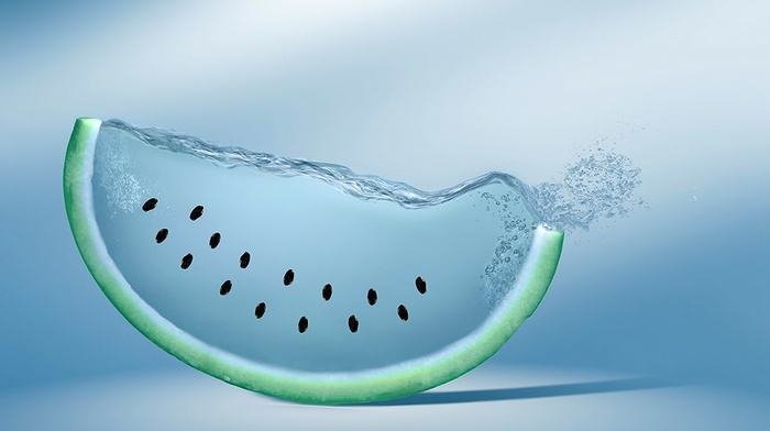 произведение искусства, цифровое искусство, фрукт, вода