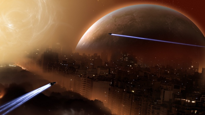planet, futuristic, space, digital art, spaceship, artwork, city, science fiction