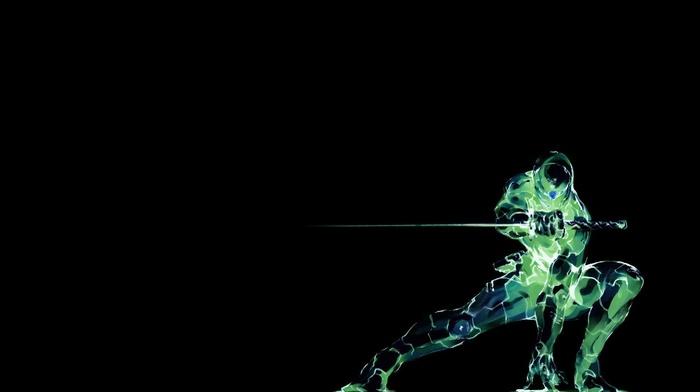 simple background, cyborg, Metal Gear Solid, video games, Grey Fox, black background, ninjas