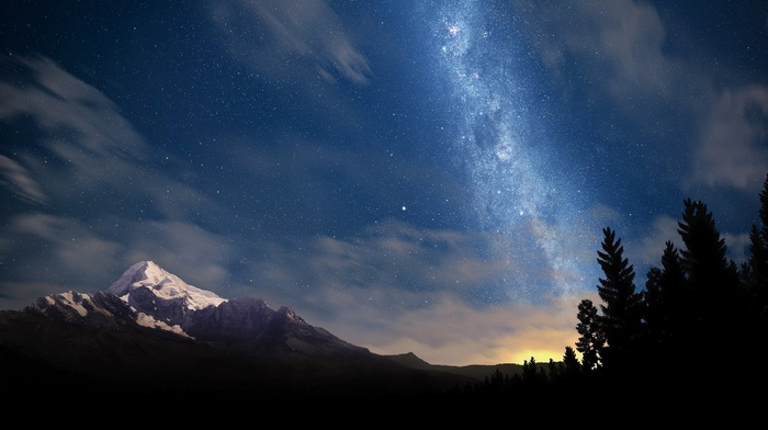 trees, stars, mountain, nature