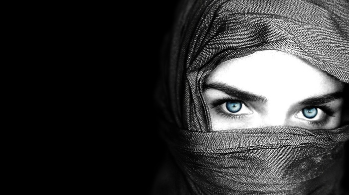 black, face, blue eyes, selective coloring