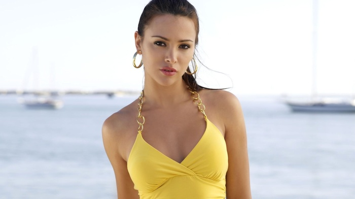 yellow dress, brunette, Alina Vacariu, halter top