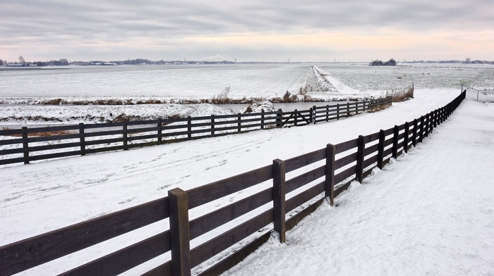 landscape, snow, fence, nature