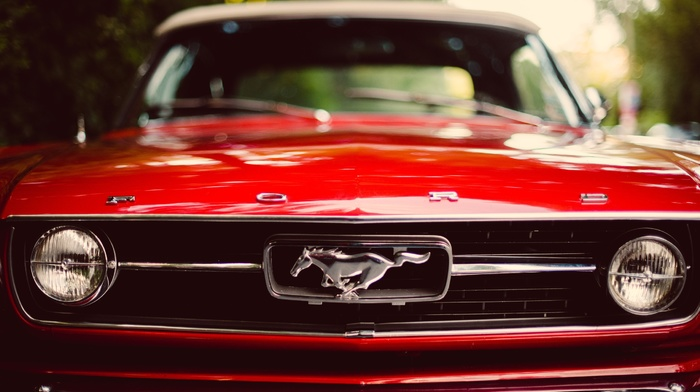 red, muscle cars, Ford Mustang, car