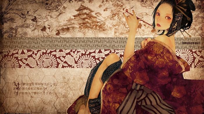 girl, Japan, geisha