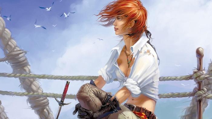 пираты, рыжие, девушки из аниме