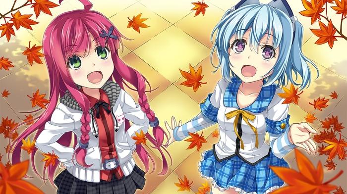 синие волосы, оригинальные персонажи, школьная форма, рыжие, девушки из аниме, аниме