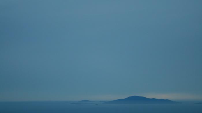 туман, море, остров, синий