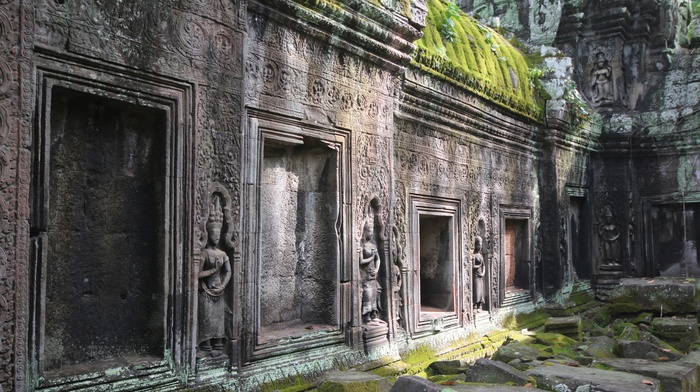 Angkor Wat, gray, statue, Siem Reap, ancient, Hinduism, lights, green