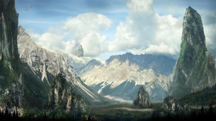 горы, облака, природа, лес