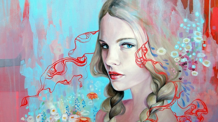 blonde, girl, face, blue eyes, artwork