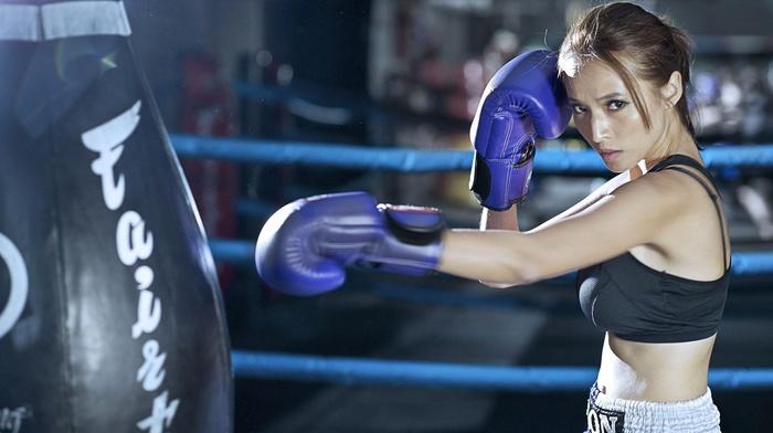 sports, girl, sports bra, boxing
