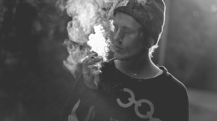 размыто, дым, монохром