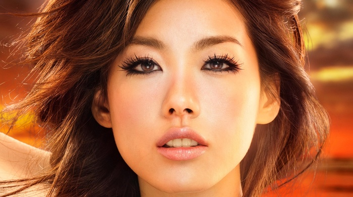 face, girl, brown eyes, Asian