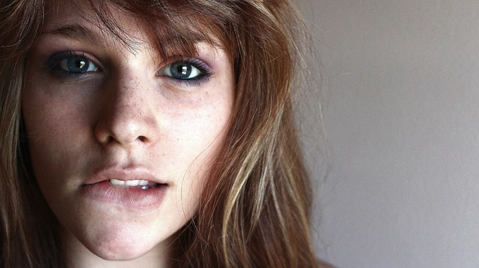 biting lip, face, blue eyes, brunette, freckles, girl