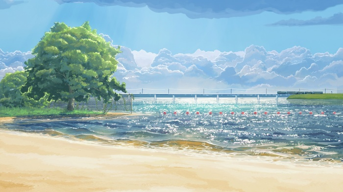 beach, trees, sea, Everlasting Summer, clouds, artwork, ArseniXC
