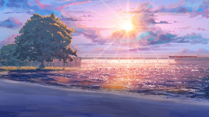 sea, beach, ArseniXC, Sun, sun rays, visual novel, clouds, Everlasting Summer