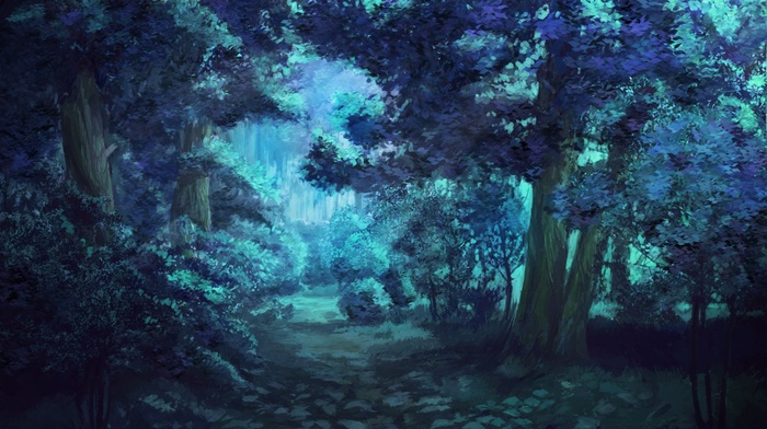 night, trees, Everlasting Summer, forest