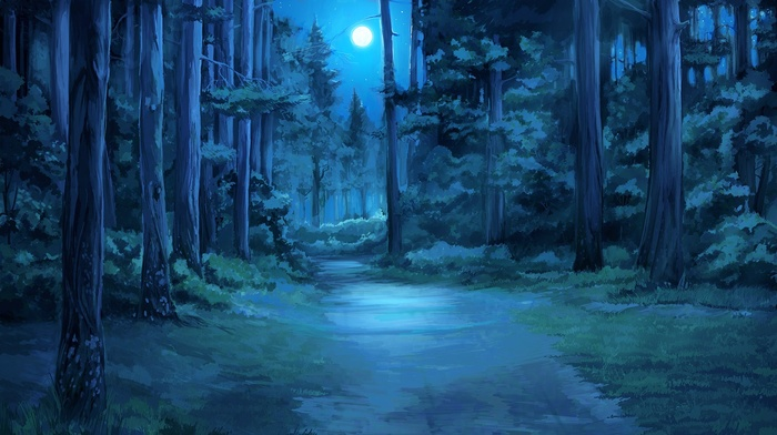 forest clearing, Everlasting Summer, moonlight, moon