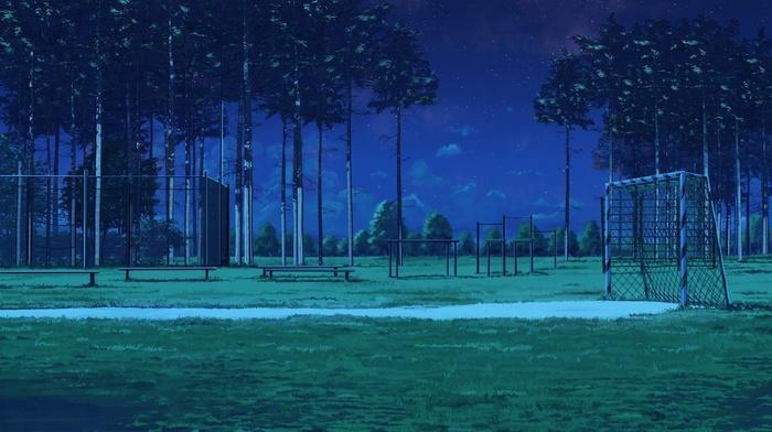 bench, ArseniXC, night, Everlasting Summer, Soccer Field