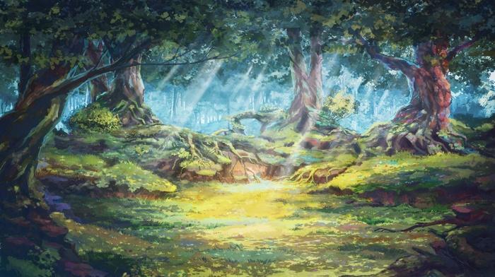 солнечные лучи, деревья, произведение искусства, лес, солнечный свет, Everlasting Summer