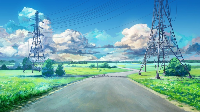 green, ArseniXC, clouds, road, blue, utility pole, anime, power lines, Everlasting Summer, visual novel, landscape