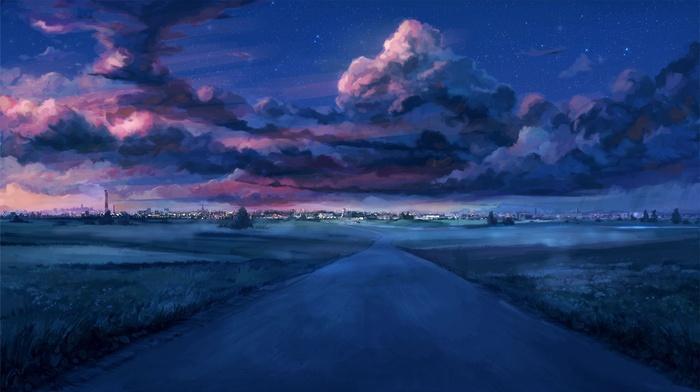 звездная ночь, закат, Everlasting Summer, городской пейзаж, облака