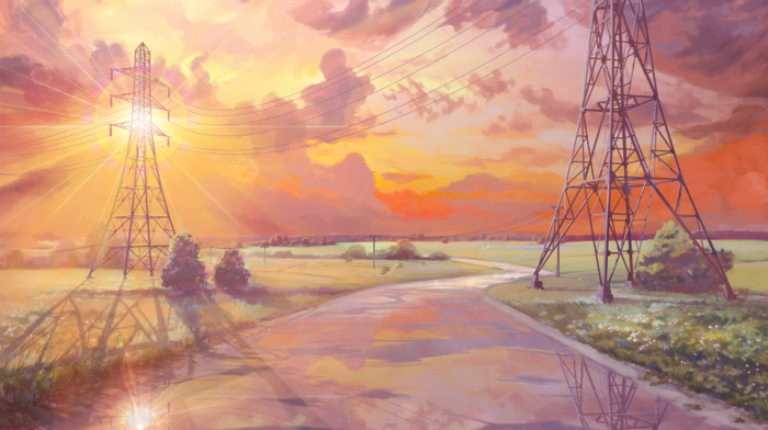Everlasting Summer, sun rays, visual novel, reflection, utility pole, clouds, sunrise, road