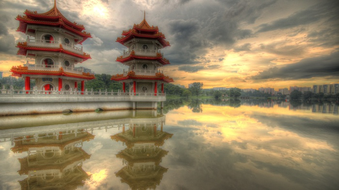 feelings, lake, pagoda, Singapore, reflection, sunset, clouds, peaceful, water