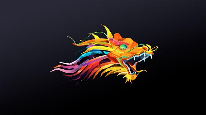 Abduzeedo, Justin Maller, dragon, digital art, facets