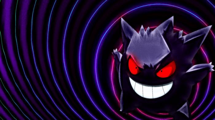 ghost, purple, gengar, Pokemon, black