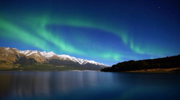 горы, синий, пейзаж, aurorae