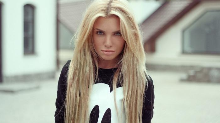 длинные волосы, девушки на открытом воздухе, девушка, блондинка, модель, голубые глаза