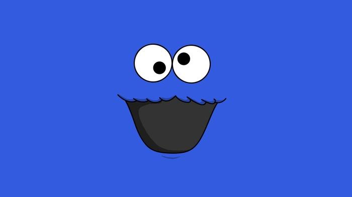 blue background, minimalism, Cookie Monster