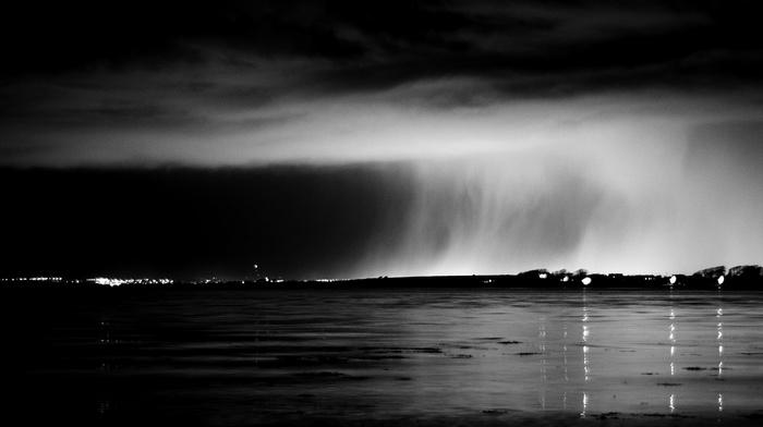 water, sea, clouds, rain, night