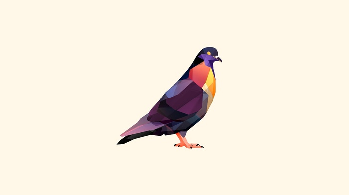 pigeons, birds, facets, digital art, animals, Justin Maller