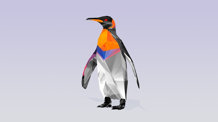 animals, Justin Maller, digital art, penguins, facets