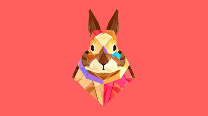 facets, rabbits, animals, Justin Maller, digital art