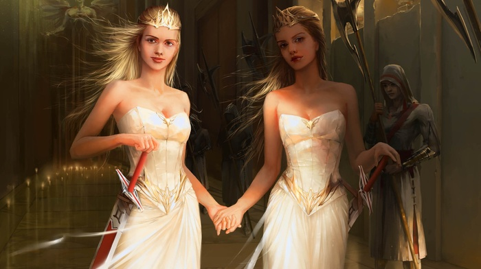 twins, fantasy art, blonde