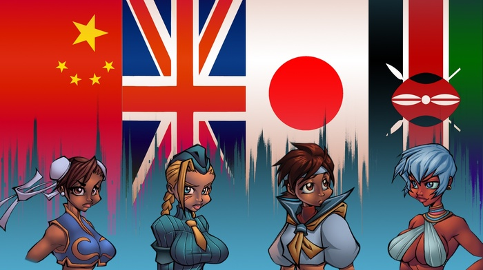 chun li, Cammy, flag, Elena, video games, Street Fighter