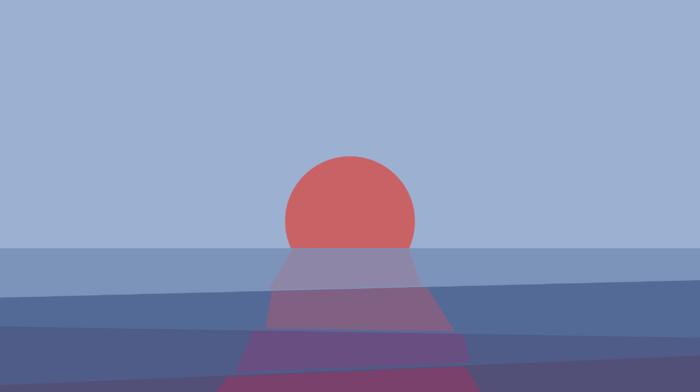 отражение, простой фон, закат