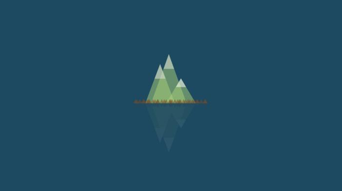 горы, отражение, простой фон