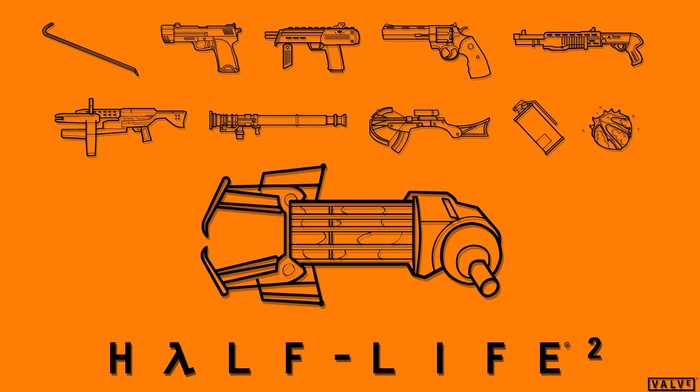 weapon, Valve Corporation, orange, video games, Half, Life 2