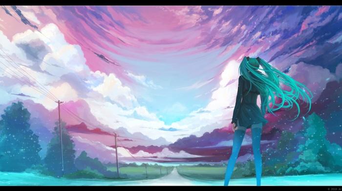Hatsune Miku, landscape, anime girls, Vocaloid, horizon, sky
