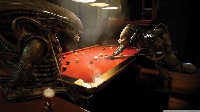 billiards, aliens, bar, anime, Alien vs. Predator, pool table, 3D, predator movie