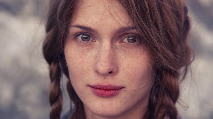 brunette, girl, face, blue eyes, freckles