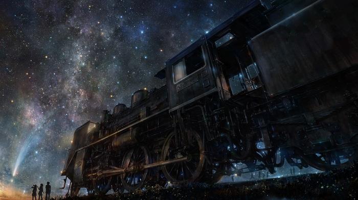 train, digital art, group of people, sky, stars